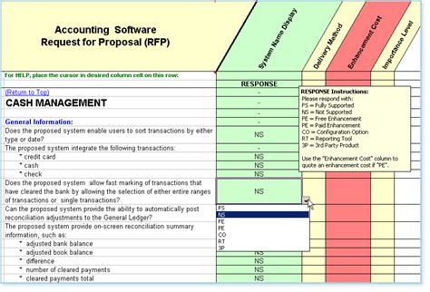 Rfp Template Features And Exles Rfp Template Erp Software Selection
