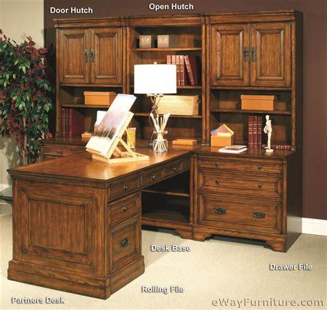 partner desk with hutch 2 door hutches