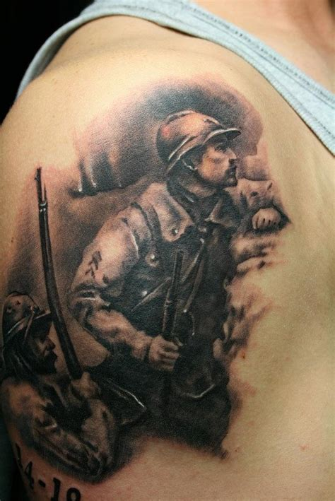 realism military man tattoo on shoulder ideas tattoo