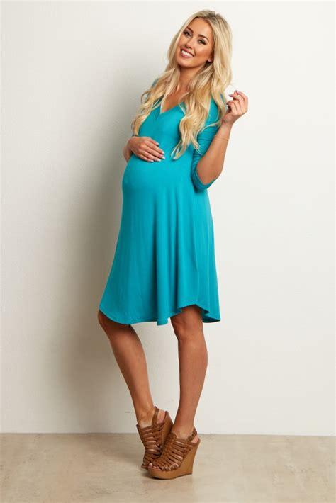 V Basic Dress jade v neck basic maternity dress