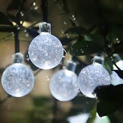 patio led string lights innoo tech solar globe fairy lights 30 led white crystal