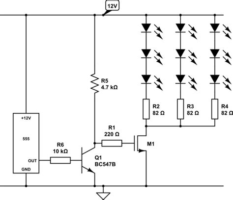 transistor led driver schematic driving 72 leds with 555 timer electrical engineering stack exchange