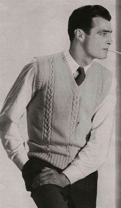 pdf of mens sweater vest knitting pattern sz 38 40 42