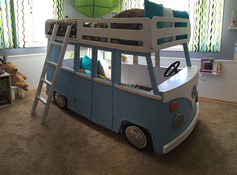 vw bus bed custom made vw bus bunk bed beds are twin mattresses the bed is made from wood it