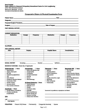 preoperative evaluation template physical sheet fill printable fillable blank