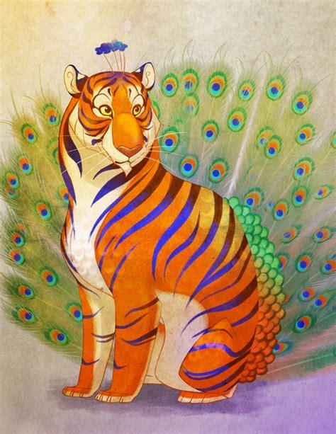 Kenna 5 Original By Baenetta peacock tiger signed print 183 chelsea kenna illustration