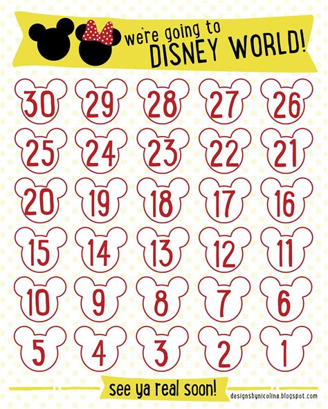 printable countdown calendar template printable countdown to disney calendar calendar template