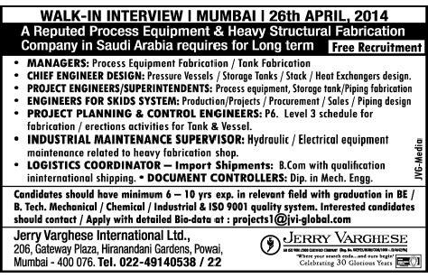 design engineer job opening in mumbai jobs in jerry varghese international limited mumbai