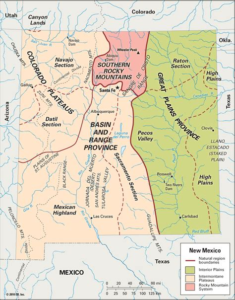physical map of new mexico new mexico physical features encyclopedia