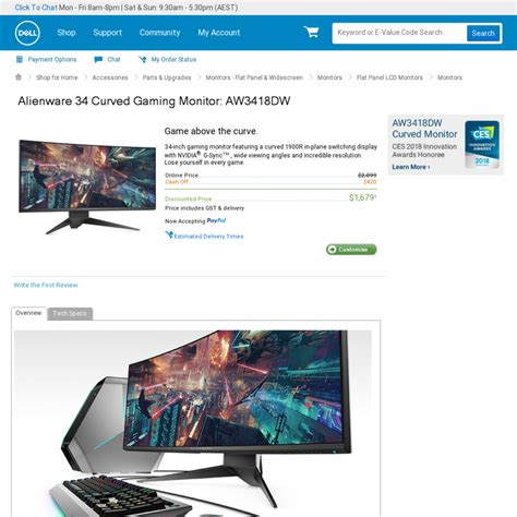 dell alienware aw3418dw 34 quot ultrawide 21 9 120hz g sync ips gaming monitor 1 679 delivered
