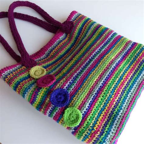 free tote bag pattern uk rainbow crochet tote stylecraft rosette position this is