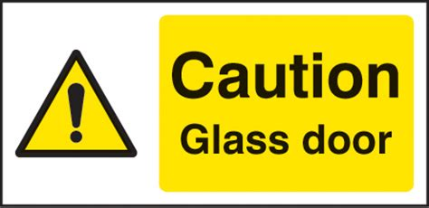 Caution Glass Door Sign Self Adhesive Vinyl 100x200mm Safety Stickers For Glass Doors