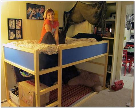 Bedroom With L On by Loft Bed With Desk Underneath For College Students Bunk