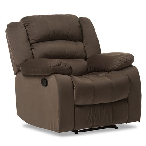 Microsuede Recliner by Baxton Studio Hollace Microsuede 1 Seater Recliner Taupe