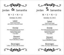 wedding menu sles templates wedding menu template 24 in pdf psd word