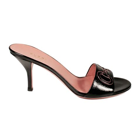 gucci s sandals black patent leather shoes gg logo