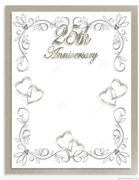 Anniversary Card Template by Free Printable 25th Wedding Anniversary Invitations Mini