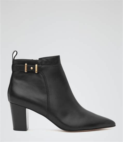 bueller black low heel ankle boots reiss