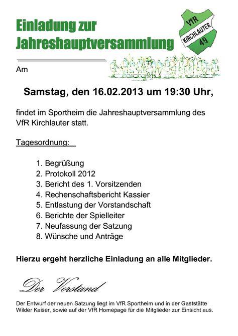 Muster Einladung Zur Jahreshauptversammlung Verein Vfr Kirchlauter 187 Einladung Zur Jahreshauptversammlung 2013