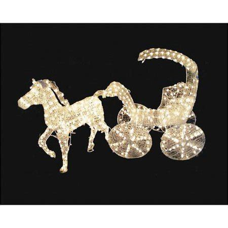 lighted christmas horse and carriage 57 quot lighted 3 d and carriage yard decoration walmart