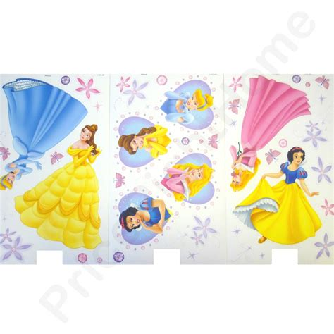 disney princess wall stickers large disney princess deco wall stickers set new free shipping ebay