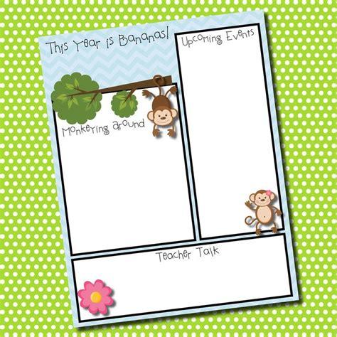 Monkey Themed Newsletter Template 3 Https Www Etsy Com Listing 158154095 Themed Classroom Monkey Newsletter Template