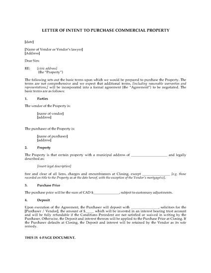 Letter Of Intent For Purchase Of Commercial Property