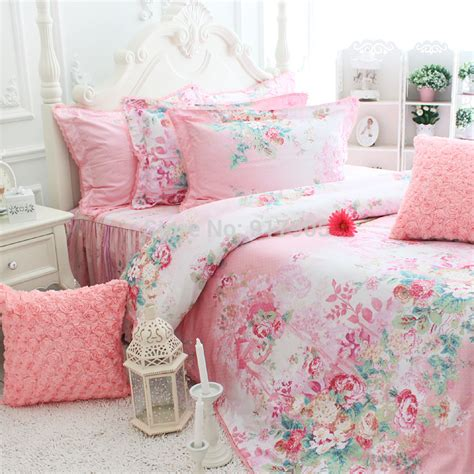 pink princess comforter sets romantic pink rose print bedding sets elegant rustic