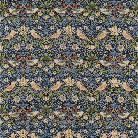 Warwick Upholstery Strawberry Thief Fabric Indigo Mineral 220313