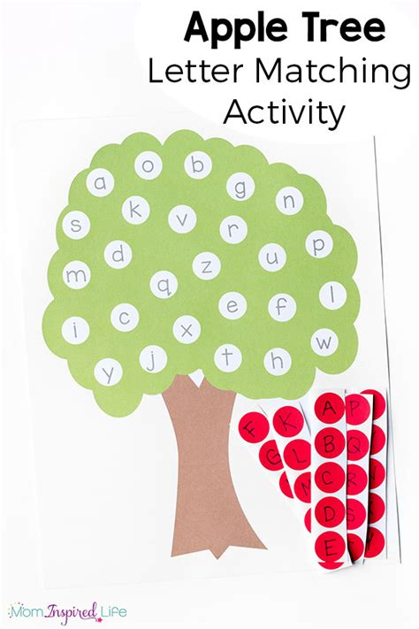 printable alphabet recognition activities letter matching apple tree apple tree and apples