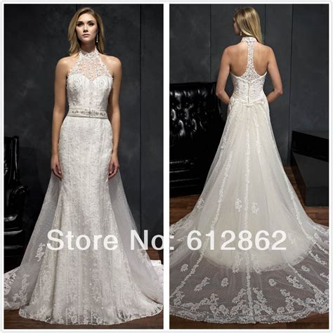 Sleeveless Vestido De Casamento Lace Long Train Low Back