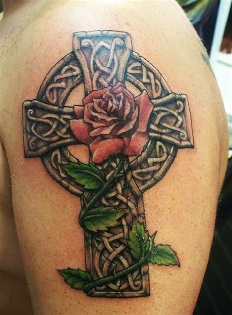rose and shamrock tattoo celtic cross tattoos this style cross is hugely