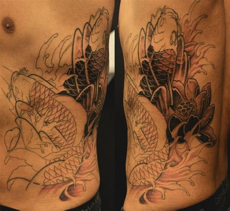 koi tattoo ribs chronic ink tattoos toronto tattoo koi fish rib piece