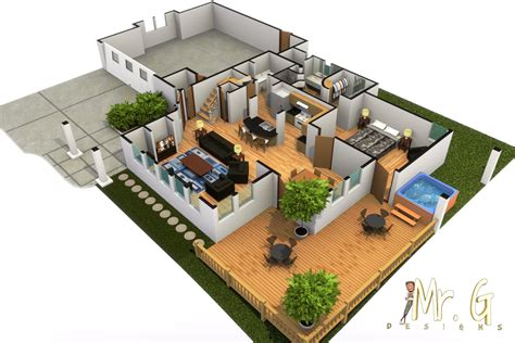 home design 3d jardin garrett s modern house with hot tub 3d floorplan