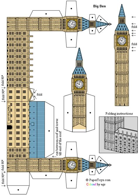 Big Ben Papercraft - big ben st stephen s tower free paper model