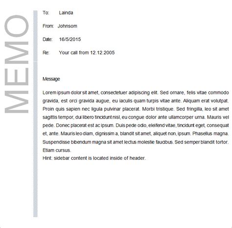 Memo Note Template Sle Casual Memo Letter Policy Memo Template Exle Sle Policy Memo 5 Documents In