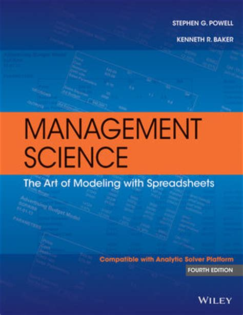 What Is Mba In Management Science by Wiley Management Science The Of Modeling With
