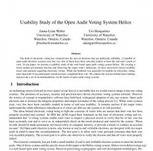 Electoral Systems Essay Modern Studies by Usability Study Of The Open Audit Voting System Helios Course Project Jannaweber