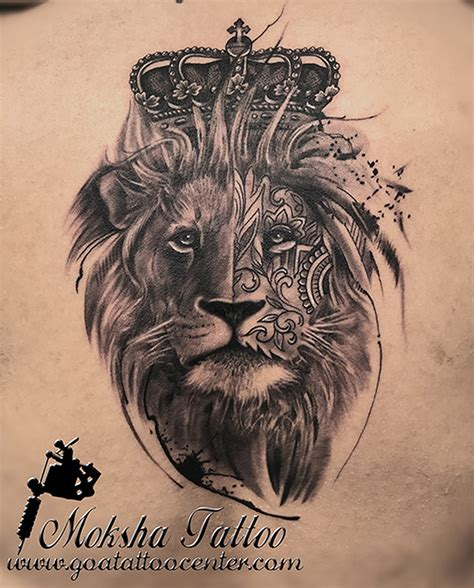lion with crown tattoo design realistic king with crown done by mukesh