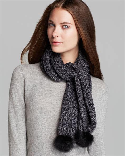 ugg scarf with shearling sheepskin pompom in black lyst