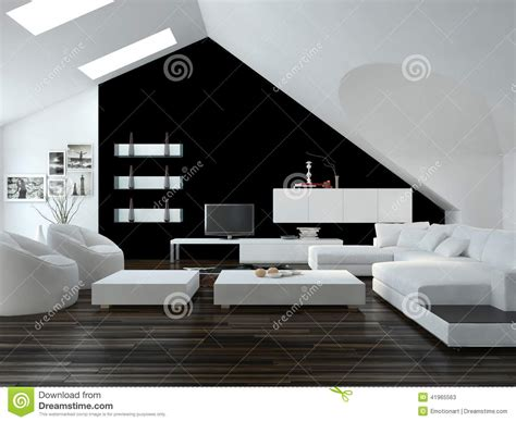 black decor modern black and white loft living room interior stock