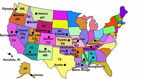 usa map with states capitals and abbreviations state capitals song