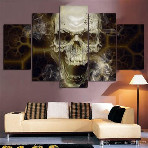 home wall decor online home decoration wall art 5 panel skull painting abstract