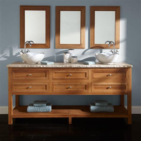 Bathroom Vanities Two Sinks 72 Quot Thayer Bamboo Vessel Sink Vanity Bathroom Vanities Bathroom