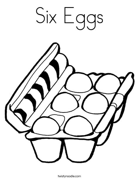 Six Eggs Coloring Page Twisty Noodle Eggs Coloring Page