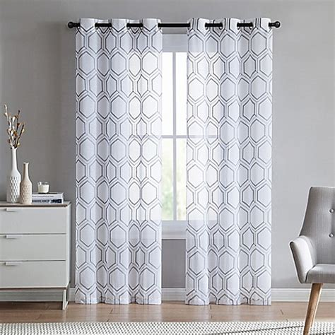 96 inch grey curtains buy vcny home empire sheer 96 inch grommet top window