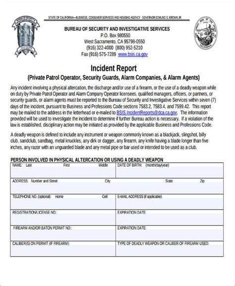 Incident Report Writing Pdf by 46 Incident Report Formats