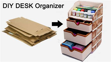 How To Make A Desk Organizer How To Make A Stationary Diy Desk Organizer Using Cardboard By Craftinghours