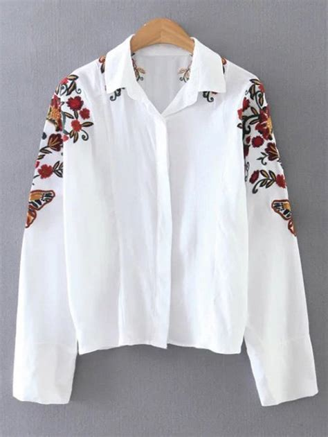 Floral Embroidered Shirts White shirt neck floral embroidered cropped shirt in white sammydress