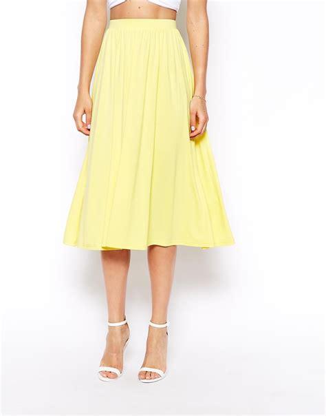 asos midi skirt in yellow lyst
